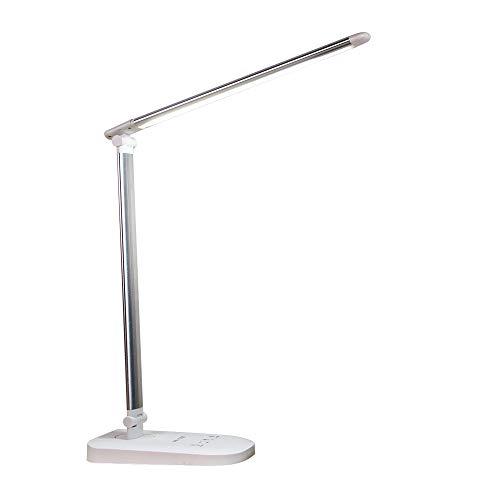 Hatsutec デスクライト 卓上ライト スタンドライト LED数70箇 ledライト 目に優しい光 3段階調色/無段階調光 省エネ 自由に角度調節可能 タッチセンサー USBポート付け(ホワイト銀色)