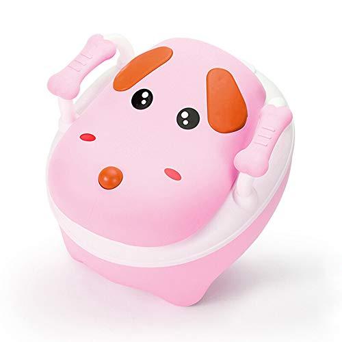CL- Toilette Toilette Dessin animé Chien bébé Enfant Formation siège de Toilette Pot 34X31X26.5cm (Jaune et Rose en Option) (Couleur : Pink)