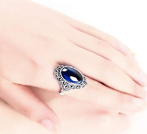 XIRENZHANG Anillo de mujer vintage de plata 925 zafiro rojo granate índice corazón anillo mujer mujer abierto plata (13# – 20#) azul 15#