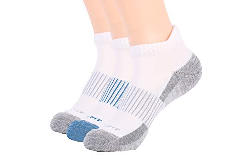 Copper Fit Unisex Copper Infused Ankle length Socks - 3 Pack ,White, Large/X-Large