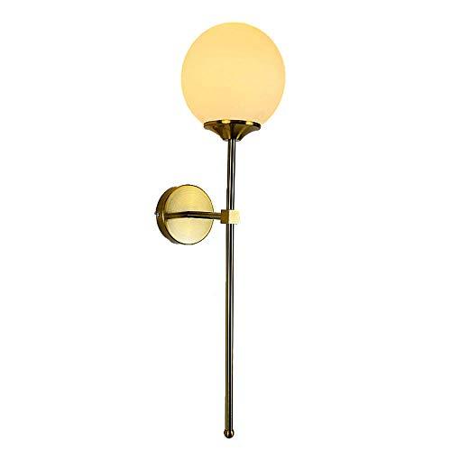 MZStech Aplique montado en la pared industrial vintage, globo de cristal blanco opal con lámpara de pared dorada de brazo largo, luz de pared dorada para la cabecera (Opal White)