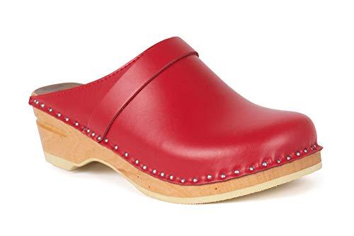 Troentorp Clogs, Bastad Da Vinci Slip-On geschlossene Zehen Leder Damen Original schwedische Holzclogs, rot, 37 EU