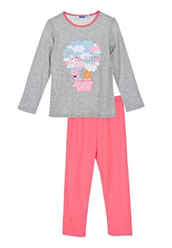 Peppa Wutz Pig und Freunde Mädchen Kinder Schlafanzug Pyjama Grau, Größe:104