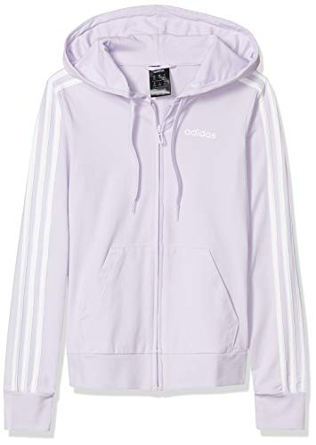 adidas Damen Essentials 3-Streifen Hoodie, Damen, Jacke, Essentials 3s Single Jersey Full Zip Hoodie, Violett/Weiß, X-Small