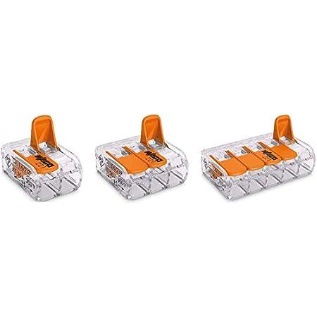 GasNPow3r Wago Ensemble de 30bornes de raccordement 221-412, 221-413 et 221-415 (10 de chaque) 0,14 à 4mm² Design compact avec Levier
