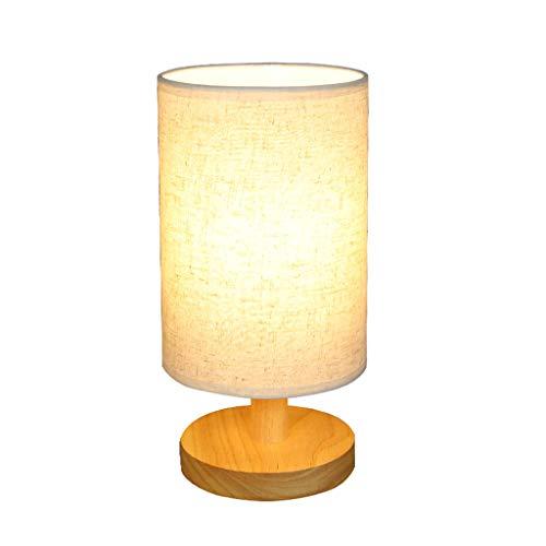 Xwyun Lámpara de mesa de madera nórdica estilo japonés estudio casa lámpara de mesita de noche pintada a mano pantalla LED fuente de luz decoración mesa luz noche luz (28 x 14 cm)