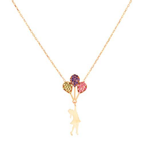 Reach, Finesse Serie Rose Gold Plated 925 Sterling Silber Halskette mit einem Mädchen und Luftballons Anhänger, 40 cm / 15,75