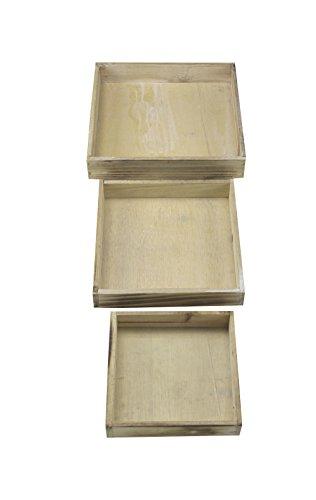 Decoline Holz Tablett Set 3 Stück quadratisch