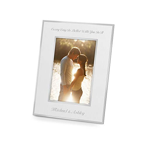 Things Remembered Personalized Silver Flat Iron 5 x 7 Picture Frame, Portrait Frame with Engraving Included