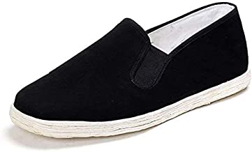 Lazutom Unisex Old Beijing Martial Art Kung Fu Tai Chi Cotton Sole Canvas Shoes (Black, EU 44)