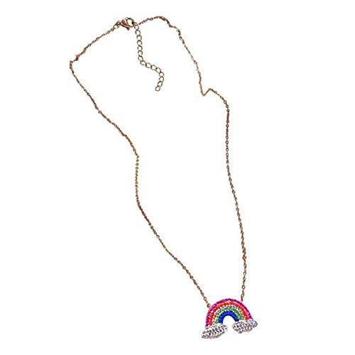 Collar, Collares Collar con colgante de arco iris de diamantes de imitación coreano para mujer Gargantilla con dijes Collares Joyería de moda bohemia Regalo de cumpleaños - Colorido 38 + 3.5Cm