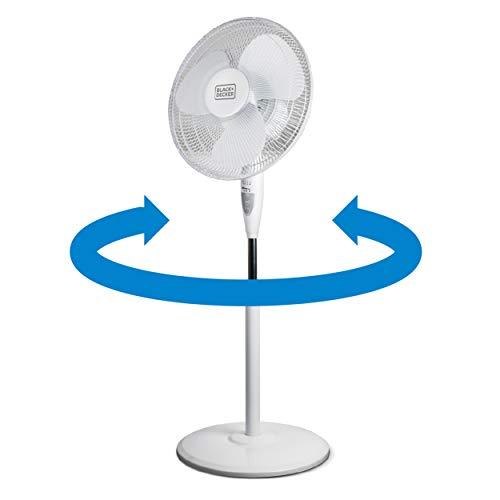 "BLACK+DECKER 16"" Stand Fan with Remote (White), 16 in. Fan, White"