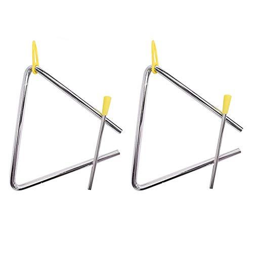 Triangel,2er Pack 6 Zoll Triangel mit Schlägel Gummigriff Stahl-Schlaginstrument mit Klöppel TRI-6 Stahl Rhythmus Percussion mit Streikenden für Kinder Erwachsene