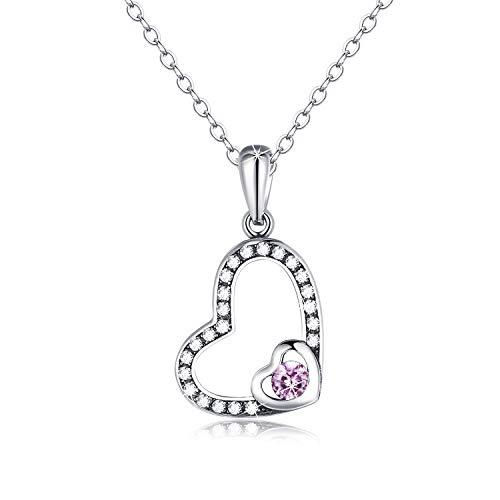 Collar con corazón de Plata de Ley 925 Real con circonita cúbica 5A, Collar de Cristal para el Día de la Madre de Navidad Regalos de San Valentín, 41 + 5 cm Cadena de extensión (Rosado)