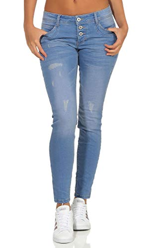 Sublevel Damen Slim Leg Stretch Jeans LSL-338/LSS-087 Röhre mit sichtbarer Knopfleiste, schmales Bein Hyper Blue Denim S