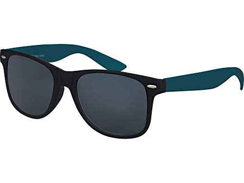 Balinco Hochwertige Nerd Sonnenbrille Rubber im Retro Stil Vintage Unisex Brille mit Federscharnier - 96 verschiedene Farben/Modelle wählbar (Dunkelblau/Schwarz - Smoke)