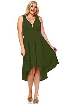 Zoozie LA Women s Plus Size Pleated Midi Cocktail Dress with Empire Waist Olive 3X