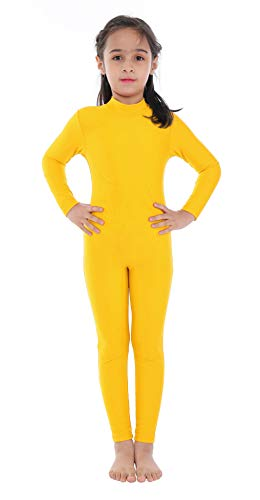 Kids Girls Turtleneck Long Sleeve Unitards One Piece Spandex Full Body Catsuit Dance Leotard Costumes (YELLOW NEW, L)