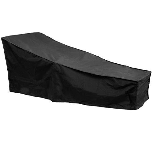 YARNOW Gartenliege Abdeckung Wasserdicht Winddicht UV-Beständiges Schwerlast Oxford Gewebe Schutzhülle für Sonnenliege Liegestuhl Deckchair Schwarz 208 x 76 x 41 cm