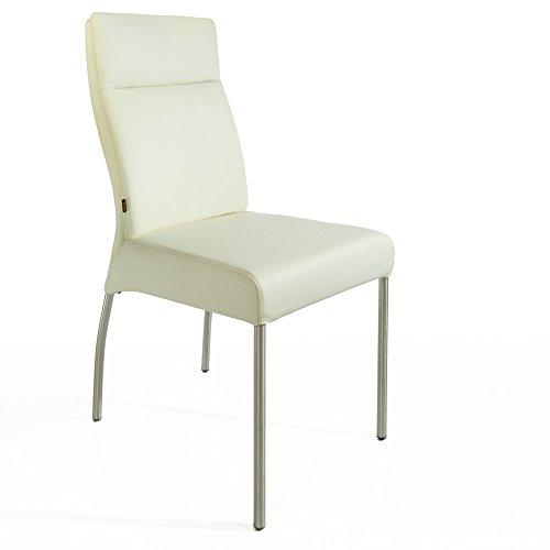 Lederstuhl Stuhl Gatto Rindsleder | Besucherstuhl Leder Stuhl Stühle Weiss Eierschale