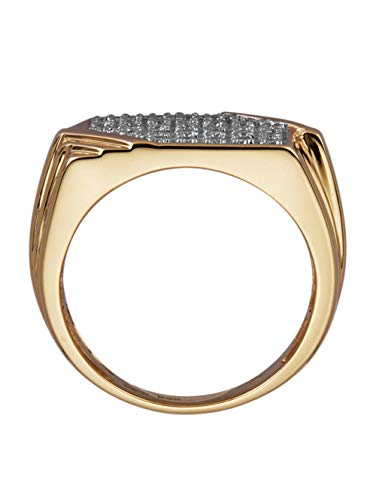 Diemer Gold Herren 585 Gelbgold Ring in Weiß mit Brillant