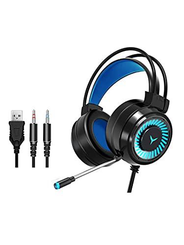 Oqqo Auriculares para Jugadores Auriculares para Juegos Sonido Envolvente Auriculares estéreo con Cable Micrófono USB Luz de Color Auriculares para Juegos