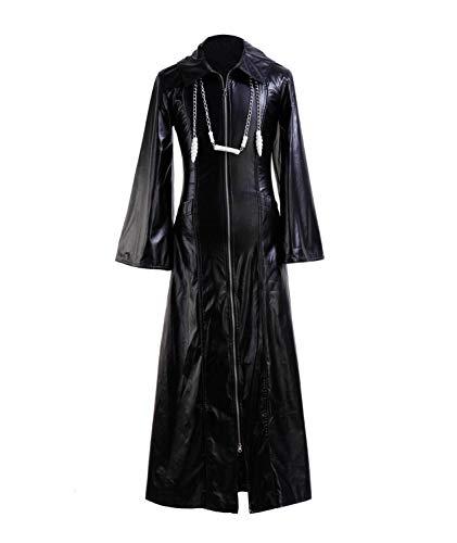 Zhangjianwangluokeji Roxas Kostüm Halloween Rollenspiel Cosplay PU Jacke für Erwachsene (X-Large, Schwarz)