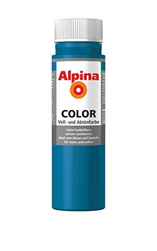 ALPINA COLOR Abtönfarbe, Bastelfarbe, Wandfarbe, Cool Blue, 250 ml