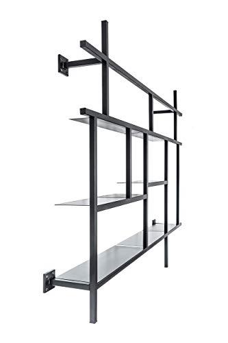 MONOISTA Regal KOBO   Bücherregal mit 5 Fächern   Designregal aus schwarzem Stahl   Modernes Metallregal für Wohnzimmer, Esszimmer oder Schlafzimmer
