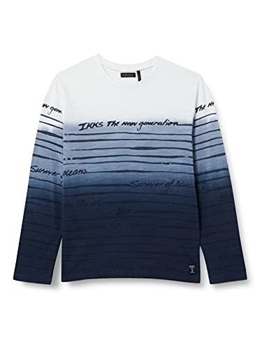 IKKS Junior Tee-Shirt marinière Effet dégradé Bleu, Blanc Cassé, 8 Ans Garçon