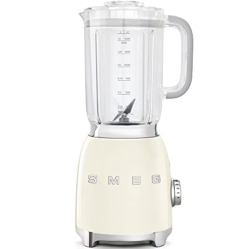 Smeg BLF01CREU - Batidora de vaso 16,3 x 19,7 x 39,7 cm, 1,5 litros (Vidrio, Acero inoxidable, Corriente alterna)