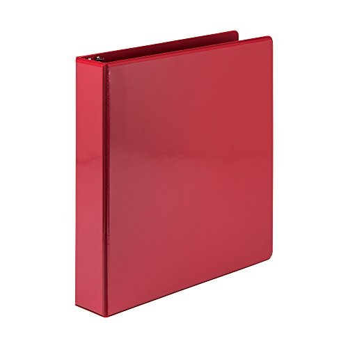 Samsill Economy 3 Ring Binder Organizer, 1.5 Inch Round Ring Binder, Customizable Clear View Cover, Red Binder (18553)
