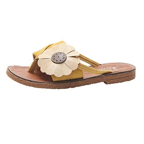iYmitz Mode Frauen Sommer Römersandalen mit Blumen Hausschuhe Runde Zehe Flache Retro Strand Freizeit Hausschuhe für Damen(Gelb,EU 38)