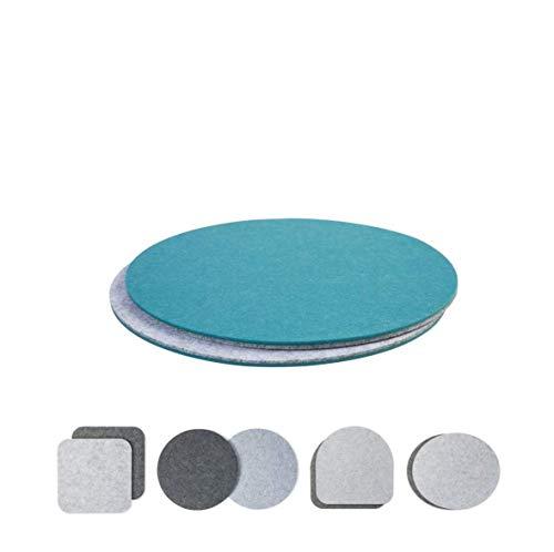 Sitzkissen Polster zweifarbig rund 2er Set (Farbe wählbar) für Stühle, Banke, Hocker | Rundes Stuhlkissen aus Filz 34cm Durchmesser (Aqua-hellgrau, rund)