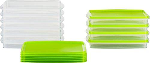 MiraHome Frischhaltedose Gefrierbehälter Stapelbehälter 0,5l rechteckig 23x14x3,2cm 10er Set grün Austrian Quality