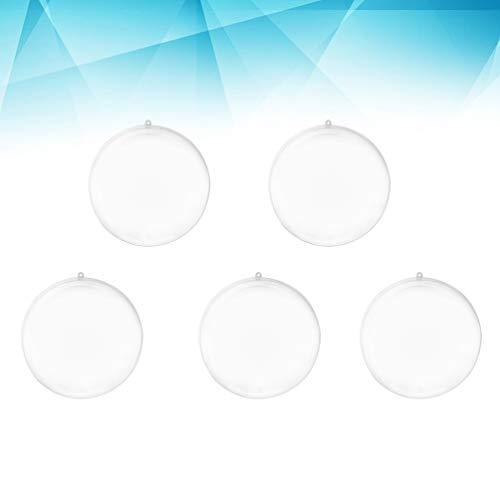 Garneck 10 Pezzi Palla riempibile in plastica Trasparente Ornamenti di Natale Palline per la Festa di Nozze Decorazioni per la casa (5 cm)