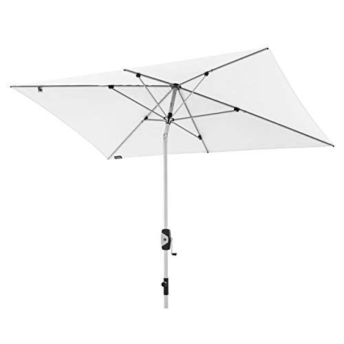 Knirps Sonnenschirm Automatic - Rechteckiger Kurbelschirm - Modernes Design - Starker UV-Schutz - 260x165 cm - Weiß