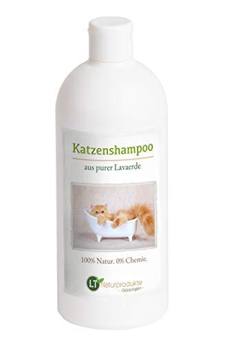 LT-Naturprodukte Katzenshampoo | Bio | Chemie- und seifenfrei | hypoallergen | gegen Juckreiz | mit original marokkanischer Lavaerde | 500ml | für Kurz- und Langfell | für glänzendes Fell
