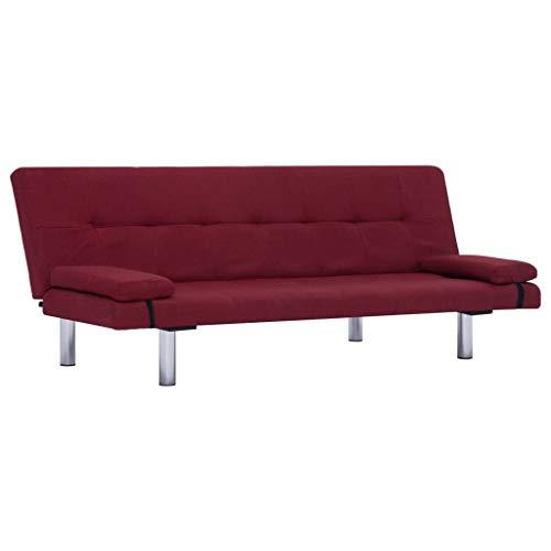 vidaXL Schlafsofa mit 2 Kissen Couch Schlafcouch Gästebett Bettsofa Klappsofa Sofa Schlaffunktion Sofagarnitur Couchgarnitur Weinrot Polyester