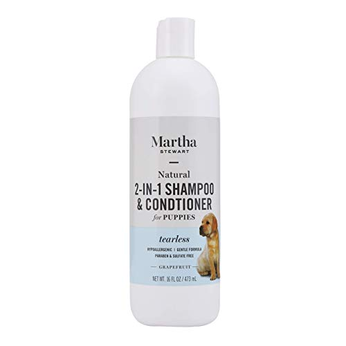 Martha Stewart for Pets 2-in-1 Puppy Shampoo with Grapefruit | Natural Tearless Dog Shampoo and Conditioner, Safe for All Dogs and Puppies, 16 Ounce Bottle Dog Wash (FF9609)