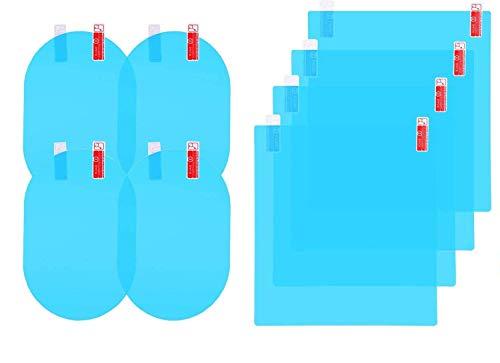 Pineocus Auto-Rückspiegel-Folie, regen/wasserdicht, für Seitenfenster, HD-klare Nano-Beschichtung, Auto-Folie, für Auto/LKW/Transporter, Motorräder, Seitenfenster/Außenspiegel, 8 Stück