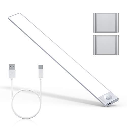 LED Unterbauleuchte, Ultra Dünn LED Schrankleuchte mit Bewegungsmelder, USB Wiederaufladbar Küchenleuchte Schranklicht Dimmbar, Auto/ON/OFF Nachtlicht für Kinderzimmer Küche Kleiderschrank