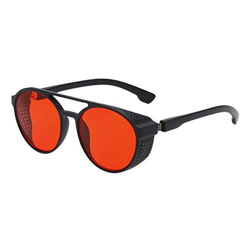 LUCKYCAT Sonnenbrille Männer Frauen Runde Retro Vintage Kreis Stil Sonnenbrille Farbige Metallrahmen Brillen Steampunk Sonnenbrille 50s, runde Gläser Kupfer Schwimmbrille Rave Gothic Vintage