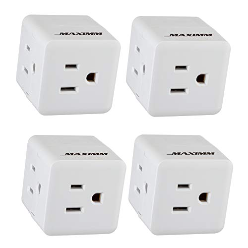 Maximm Current Wall Tap (4-Pack) Easy Access With 3 Prong Outlet Cube Plug Adapter Expanding It Into 3 AC Outlets, Perfect For Travel, ETL Listed White