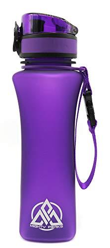 MIGHTY PEAKS TRITAN - Borraccia Sportiva a Prova di perdite, Senza BPA, 500 ml / 650 ml / 1000 ml / 1500 ml, per Bambini, in plastica, per Fitness, Viaggi, Bici, Yoga, Purple | 500ml