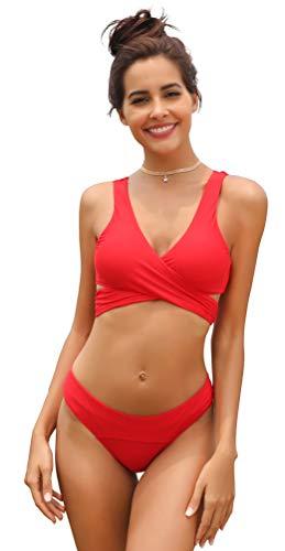 SHEKINI de Las Mujeres Criss Cross Bikini Empujar-up Halter Vendaje Trajes de baño de Abrigo (X-Large/(US 16-18), Rojo)