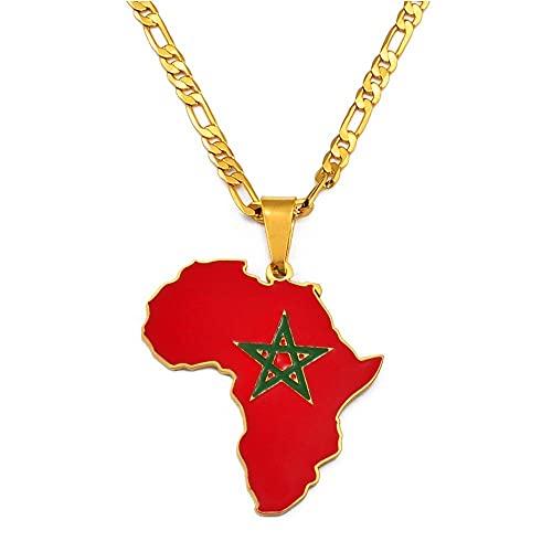 WUGDSQGH Collar De Mujer Mapa De África Collar Colgante Pareja Collar Joyería Ghana Nigeria Congo Sudán Somalia Uganda Zimbabwe Zambia Liberia,Marruecos,45Cm O 17.7 Pulgadas