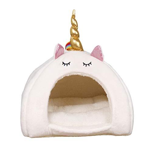 Balacoo Cueva Cálida de Felpa para Dormir Invierno Cama Adorable de Unicornio para Mascotas Ardilla Conejo Hámster Gato Perro