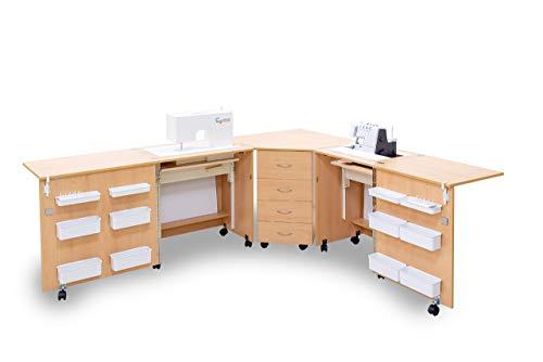 Comfort 6 | Mueble para máquina de coser | (Oak Kendal Cognac, XL (Air-Lifter 20kg))