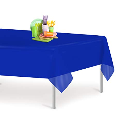 Blue 12 Pack Premium Disposable Plastic Tablecloth 54 Inch x 108 Inch. Rectangle Table Cover By Grandipity
